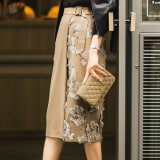 カットジャカード コンビタイトスカート 写真