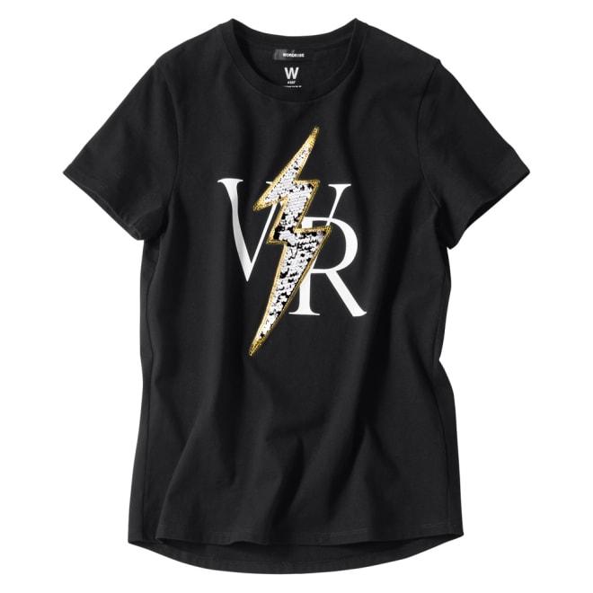 WORDROBE/ワードローブ スパンコール使い 半袖 Tシャツ (イ)ブラック