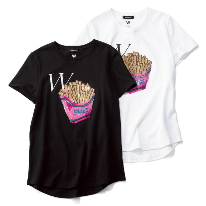 WORDROBE/ワードローブ スパンコールデザインTシャツ 左から(イ)ブラック (ア)ホワイト