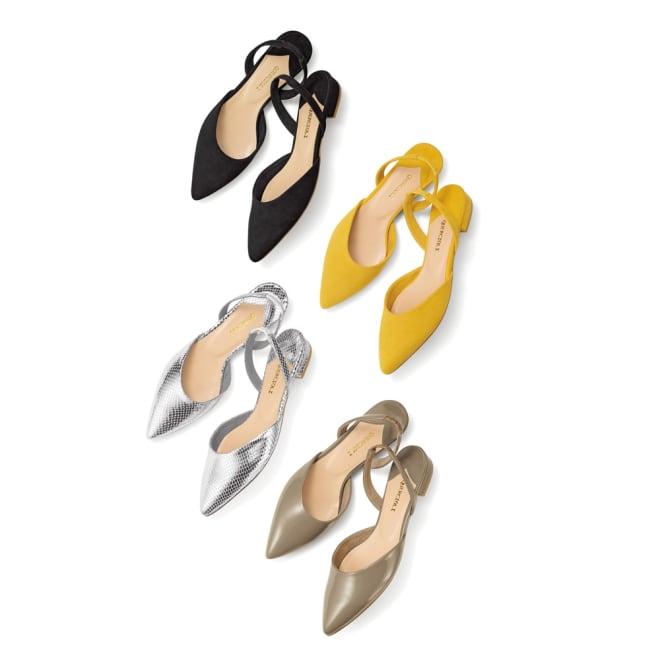 バックストラップパンプス 左上から時計回りに(ア)ブラック (イ)イエロー (エ)グレージュ (ウ)シルバー