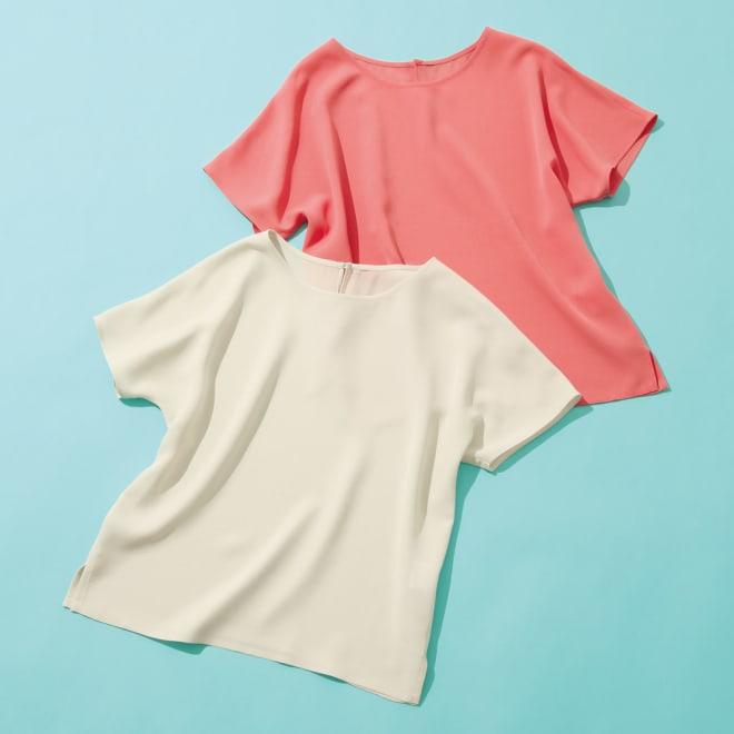 シルクジョーゼット ブラウス 左から(イ)グレージュ(web限定色)、(ア)ピンク(web限定色)