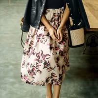 イタリア製生地 フラワープリントスカート