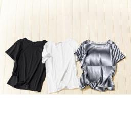 美デコルテ(R) クルーネック 半袖Tシャツ 左から(イ)ブラック (ア)オフホワイト (ウ)ネイビー×オフホワイト