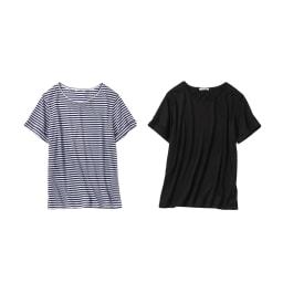 美デコルテ(R) クルーネック 半袖Tシャツ 左から(ウ)ネイビー×オフホワイト (イ)ブラック