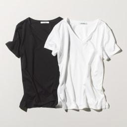 新美デコルテ(R) 合わせ細V開き 半袖Tシャツ 左から(ア)ブラック (イ)オフホワイト