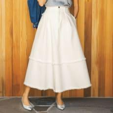 gram blue/グラムブルー ホワイトデニム フリンジロングスカート