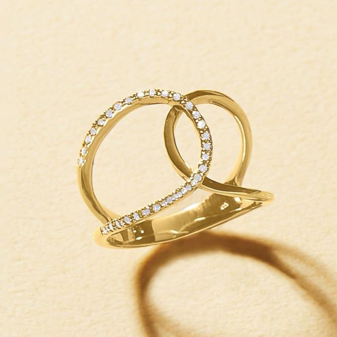 K10 0.15ct ダイヤ デザインリング (ア)YG