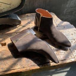 MARROQUI SANCHEZ/マルキサンチェス ダブルジップショートブーツ(スペイン製) (イ)ブラウン