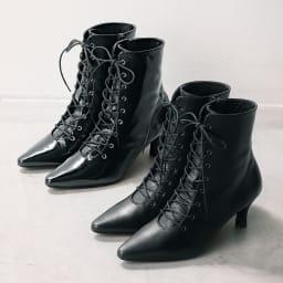ポインテッドトゥ レースアップショートブーツ(日本製) 上から(イ)ブラック系 (ア)ブラック (イ)色はシワ加工を施した艶のあるエナメル革、(ア)色はマットなスムース革を使用しております。