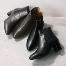 ATELIER BRUGGE/アトリエブルージュ サイドゴアショートブーツ 左から(イ)ダークグレー (ア)ブラック