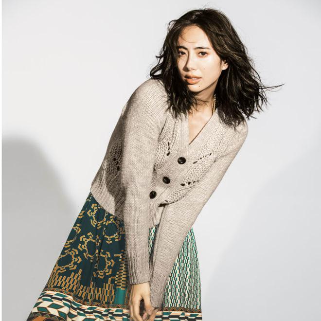 イタリア糸使用 手編み風ビッグケーブル カーディガン コーディネート例