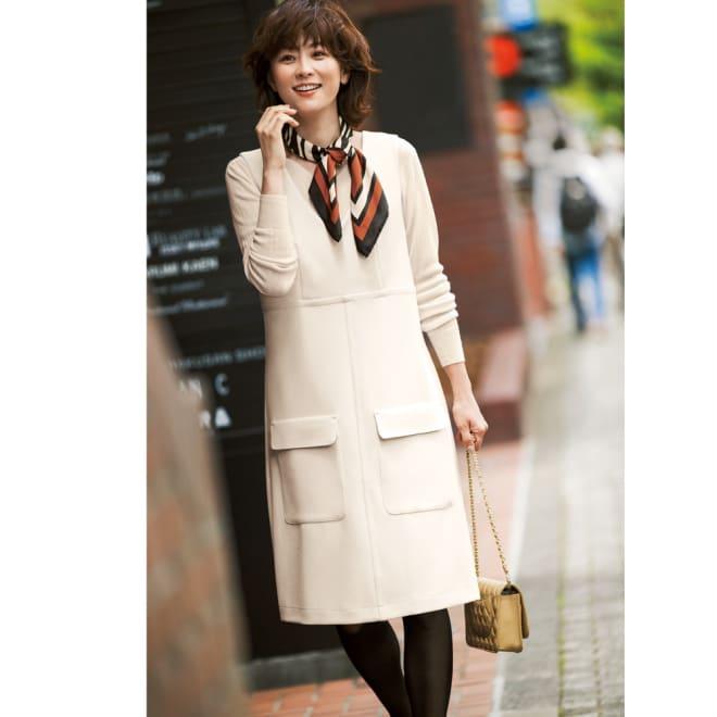 Stilconf/スタイルコンフ スカーフ付き ジャンパースカート コーディネート例