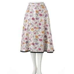 フラワー×無地プリント リバーシブル スカート 花柄面