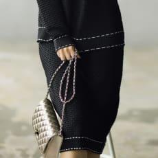 ステッチデザイン タック地柄 ニットシリーズ スカート