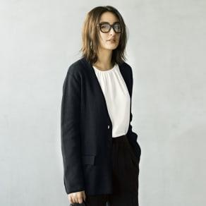 シルク混UVカット ミラノリブノーカラー ニットジャケット 写真