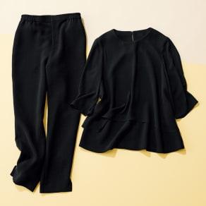 洗えるブラックフォーマル パンツスーツ 【ブラックフォーマル】 写真