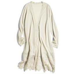 イタリア糸コットン 裾レースロングカーディガン (イ)アイスグレー