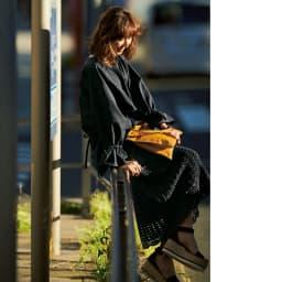 かぎ針松編み コットンニットスカート コーディネート例