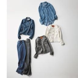 Moname/モナーム クルーネック デニムジャケットシリーズ グレー コーディネート例