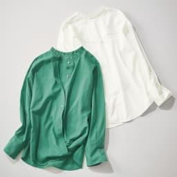 Moname/モナーム ランダムドビー前後着用可 3ウェイブラウス 左から(イ)グリーン (ア)ホワイト Back Style