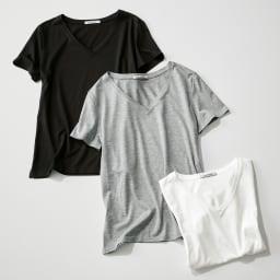新美デコルテ(R) 合わせ細V開き半袖Tシャツ 上から(ア)ブラック (ウ)グレー (イ)オフホワイト