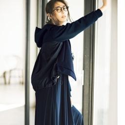 強撚糸ジャージー Aラインワンピース(日本製) コーディネート例