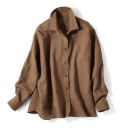 フレンチリネン 2ウェイシャツ (イ)ブラウン