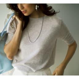 キュプラコットン 5分袖ニットTシャツ コーディネート例