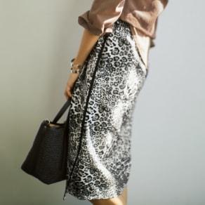 ストレッチレオパード柄 ジャカードスカート 写真