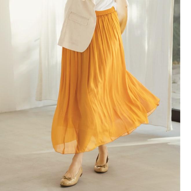 エアリーフロー きれい色スカート (イ)イエロー コーディネート例