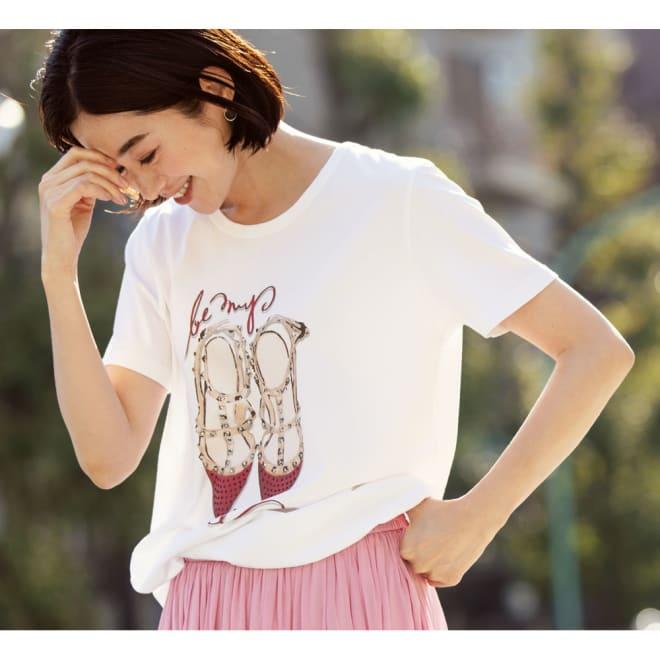 NEURONE/ネウローネ シューズ柄Tシャツ(イタリア製) コーディネート例