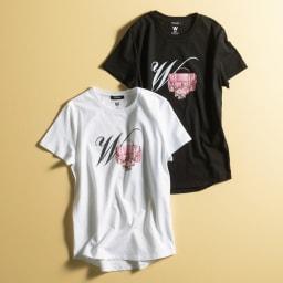 WORDROBE/ワードローブ プリントTシャツ 左から(オ)ホワイト(フラワーバッグ)(web限定色) (カ)ブラック(フラワーバッグ)(web限定色)