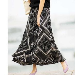 フランス製生地 スカーフ柄 ロングフレアスカート 写真