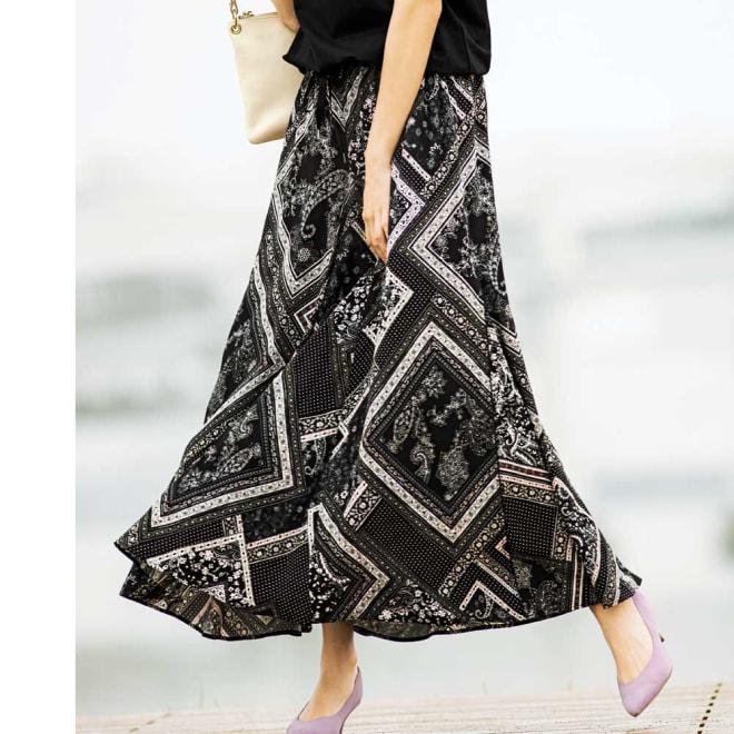 フランス製生地 スカーフ柄 ロングフレアスカート コーディネート例
