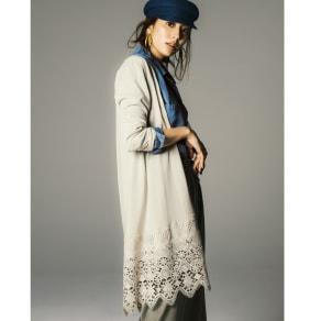 イタリア糸コットン 裾レースロングカーディガン 写真