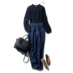 gram blue/グラムブルー センタープレス テーパードジーンズ コーディネート例
