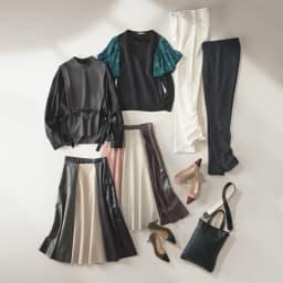 SO SOON/ソースーン フェイクレザー 配色スカート コーディネート例