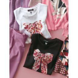 WORDROBE/ワードローブ プリントTシャツ 上から(ア)ホワイト(スカーフ柄) (イ)ブラック(スカーフ柄)