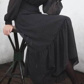 ドット柄シフォンシリーズ 切り替えスカート 写真