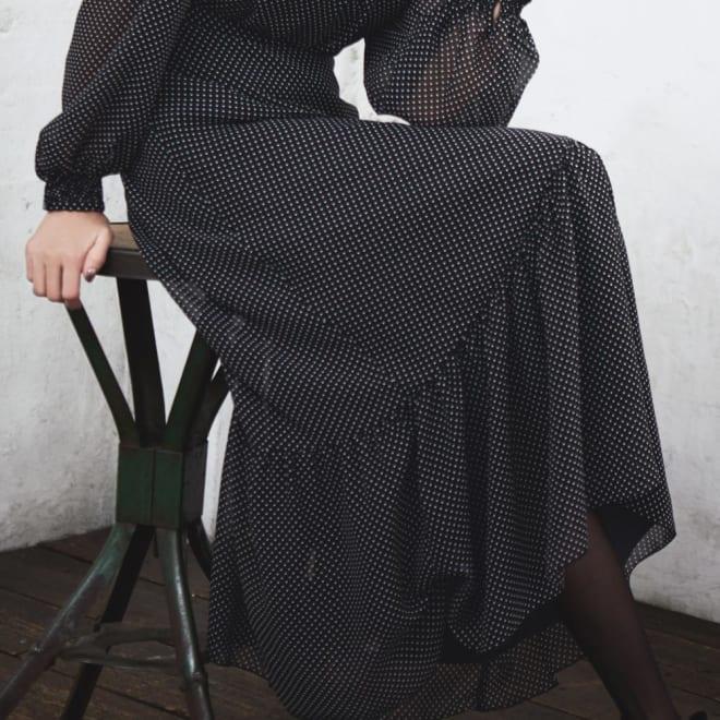 ドット柄シフォンシリーズ 切り替えスカート (イ)ブラック コーディネート例