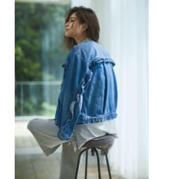 Moname/モナーム フリルデザインデニムジャケット コーディネート例