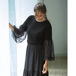 Sharon B/シャロンビー 袖チュールニットプルオーバー(イタリア製) 写真