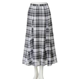 チェック柄ガーゼ フレアロングスカート ※柄の出方は商品により異なります。