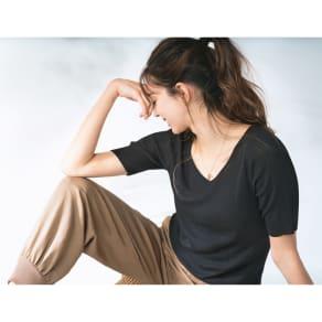 UVカット スパンシルクリブニットシリーズ 五分袖プルオーバー 写真