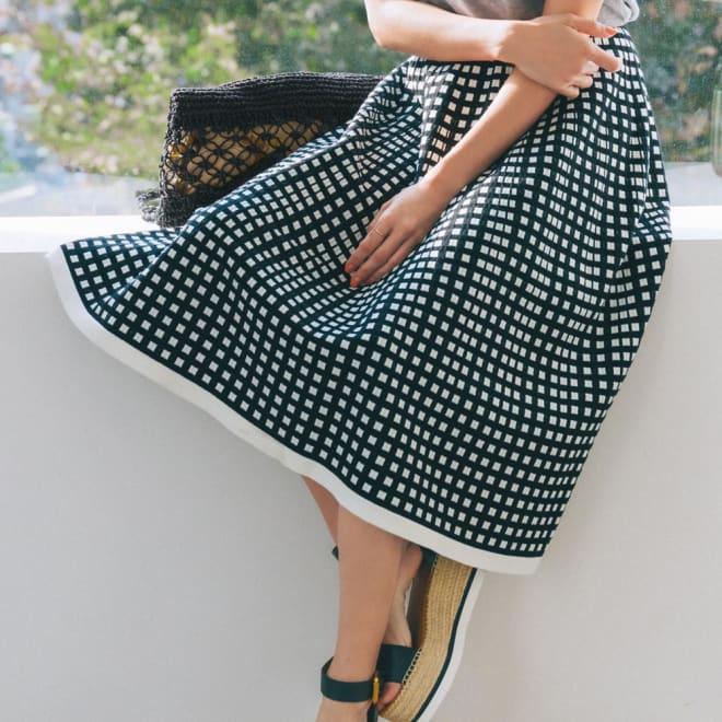 ホールガーメント(R) ジャカードニットスカート コーディネート例