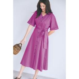 コットンストレッチ ドルマンワンピース 着るだけでぱっと華やぐきれい色ワンピースを味方に コーディネート例