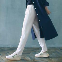 多機能素材 9分丈腰高パンツ (ア)オフホワイト コーディネート例