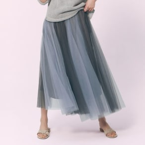 バイカラーチュール ギャザースカート 写真