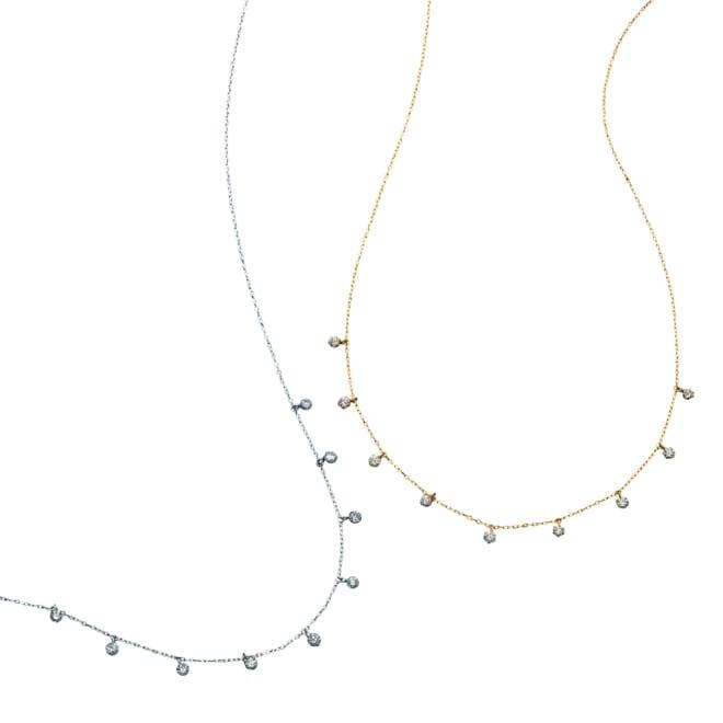 K18 ダイヤフリンジ ネックレス 左から(イ)WG (ア)YG