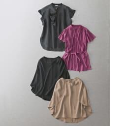 フレアスリーブとろみ チュニックブラウス(日本製) Tシャツ代わりにきれいめトップスを コーディネート例
